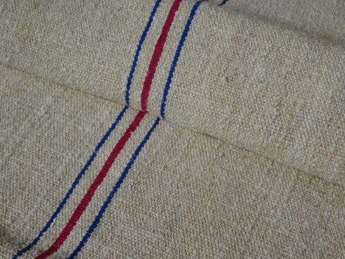 Antique European Feed Sack GRAIN SACK Blue & Red Stripe # 9765