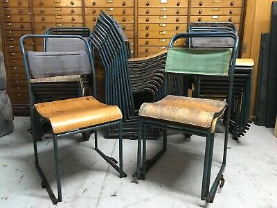 Vintage Industrial 1950s Steel Ply & Canvas Stacking Chairs. 25. Dining Bar.