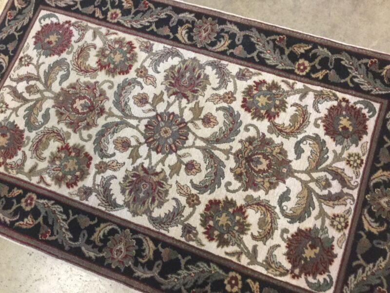 3 X 5 Beige Black Agra Persian Oriental Area Rug Floral Hand Knotted Wool Foyer