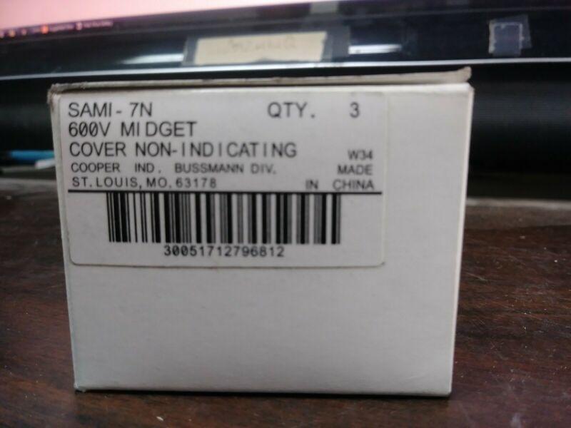 BUSSMANN SAMI-72 FUSE COVER 600 VOLT MIDGET 0 - 100 AMP SAMI BLACK NEW BOX OF 3