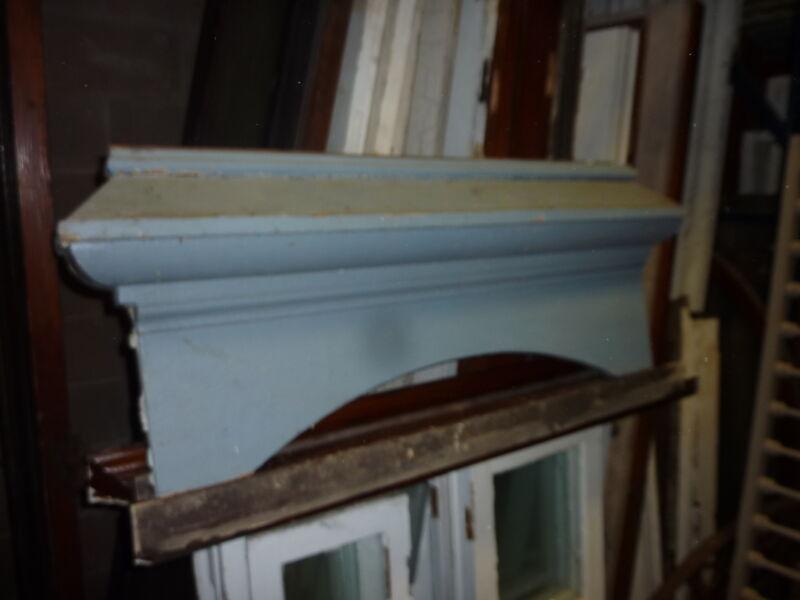 "c1880 arched AMAZING blue victorian ARCHITECTURAL HEADER pediment 48"" x 17"""