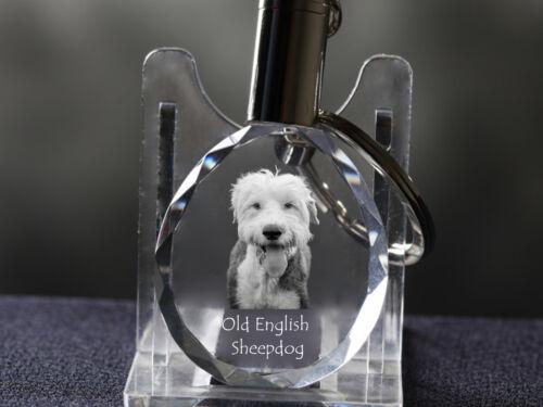 Old English Sheepdog, Dog Crystal Round Keyring,High Quality, Crystal Animals CA