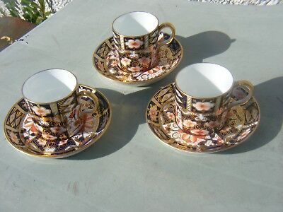 ROYAL CROWN DERBY IMARI CUP AND SAUCERS SET OF 3