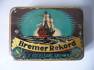 Tabakdose Blechdose Bremer Rekord mit Segelschiff-Motiv