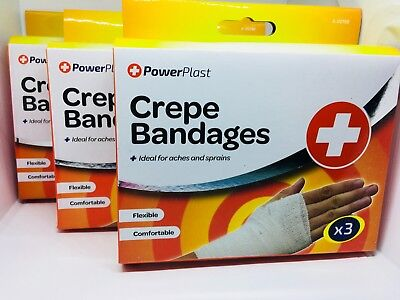 12 Crepe Bandages - with 3 assorted sizes ( 4 X 3 PACK ) NEW FREE POSTAGE