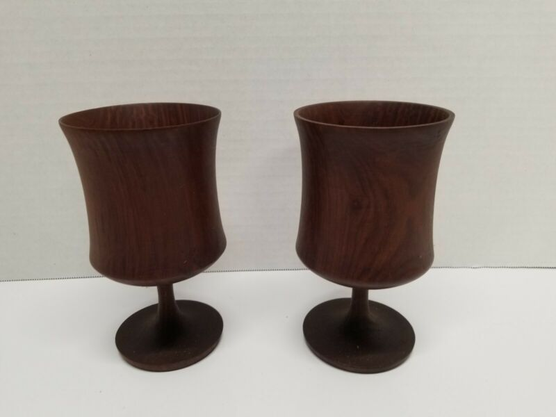 Handmade Wooden Goblets, Set Of 2