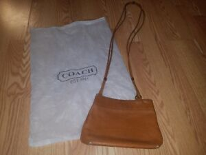 COACH CROSSBODY BAG POCKETBOOK Brown Tan Leather WOMENS