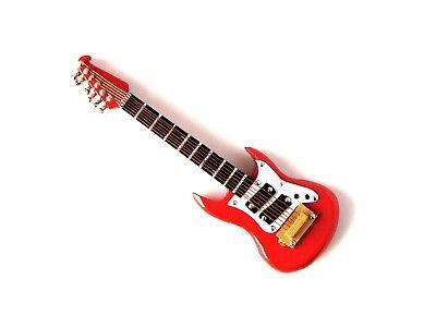 Rojo Washburn Miniatura Coleccionable Guitarra Eléctrica 9cm en Estuche - Madera