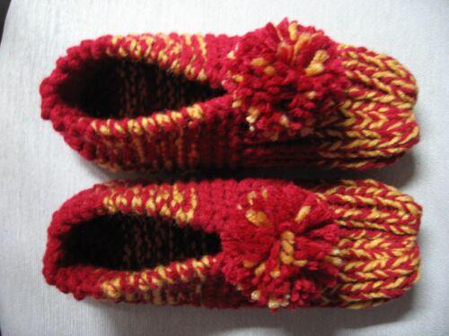 """Amish Handmade Hs Slippers Redskins Burgundy & Gold Wms Sm/Med Mans X Sm 8 1/2"""""""