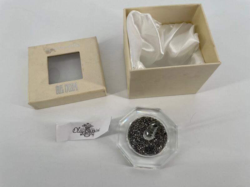 """New! Oleg Cassini Ring Holder Crystal Hemetite 3 1/8"""" x 2 1/2"""" Boxed"""