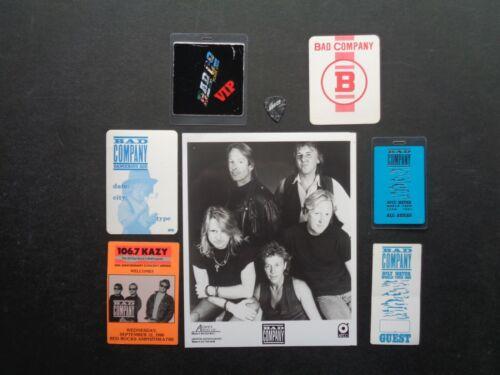 BAD COMPANY,B/W Promo Photo,6 Original Backstage passes,Guitar pick
