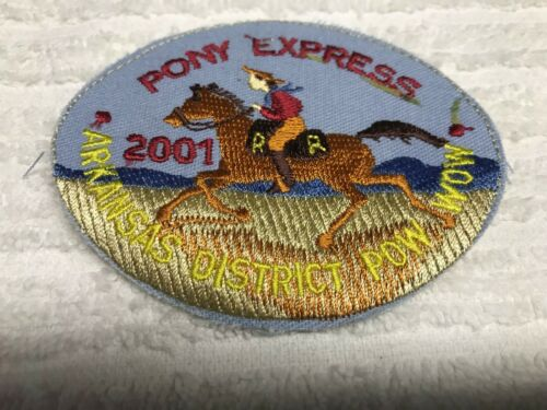 BSA 2001 ARKANSAS DISTRICT POW WOW PONY EXPRESS FLAWED NO BORDER EXTREMLY RARE