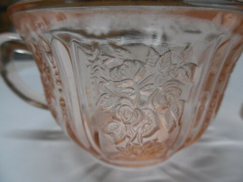Pink Sharon Cabbage Rose Cup Federal Depression glass 1930s qty 2  (W3)
