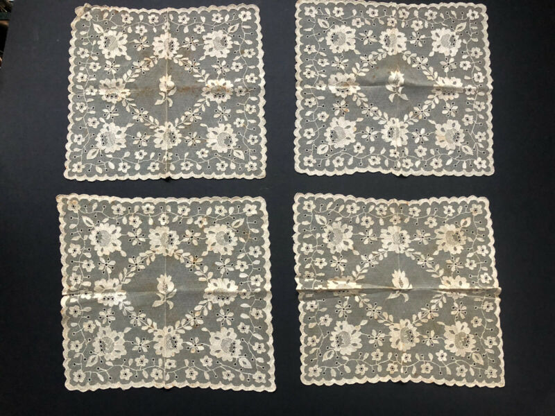4 RARE! Antique INTRICATE *CHANTILLY Lace CREAM Off White Vintage SQUARES 1880's
