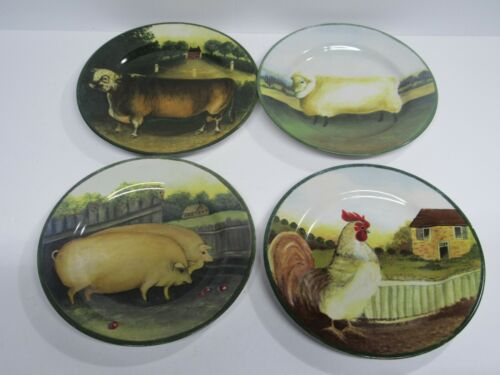 "Country Farm 8"" dinner Plates SHEEP Pigs Rooster Cow by Gear for Block 1995 Used"