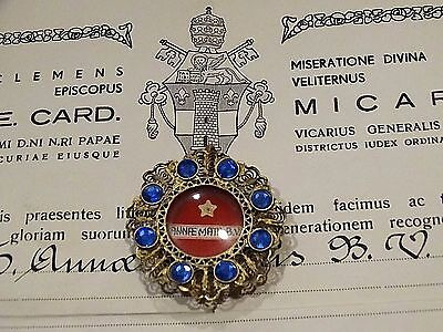 Catholic Holy Papal Relic St. Anne Mother B.V.M.  Reliquary with Documentation