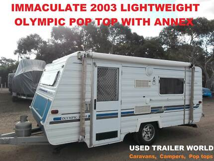 2003 REGISTERED LIGHTWEIGHT OLYMPIC POP TOP CARAVAN. SINGLE BEDS.