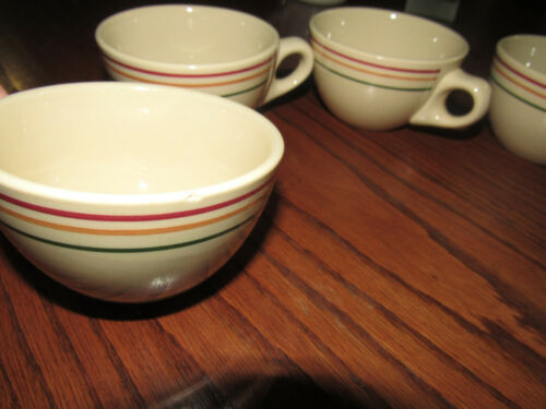 Rare 4 Iroquois China Cups Syracuse 9 N. Y. Resturant Ware Three Striped