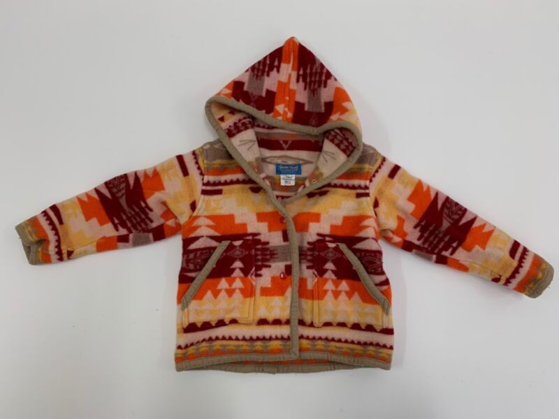 Justin Kraff Kids Hooded Snap Coat Jacket Aztec Print Size 8 Western Wool