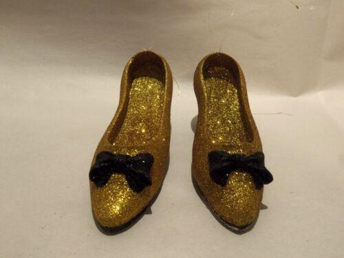 CHRISTMAS GOLD & BLACK GLITTER HI-HEEL SHOES ORNAMENTS (SET OF 2)BLACK BOWS