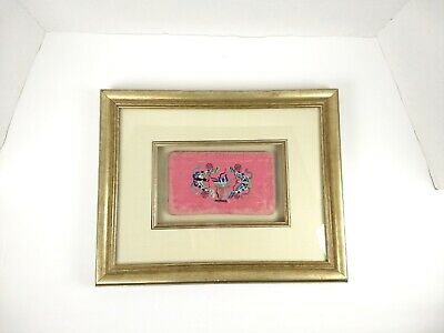 Antique Asian Silk Embroidery Butterflies Framed Oriental Butterfly Fabric Piece