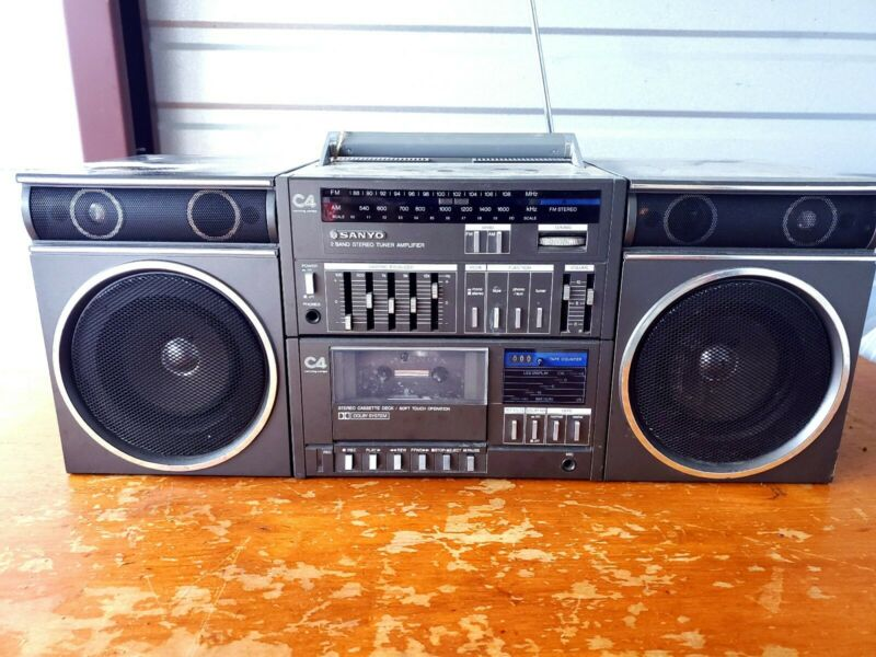 Sanyo Japan Boombox Ghetto Blaster Vintage C4 Stereo Cassette Player Portable