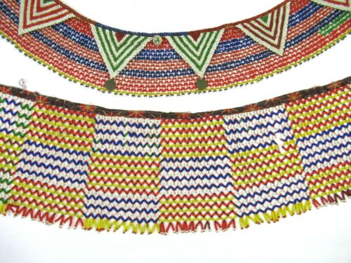 Vintage Antique Tribal African Beaded Modesty Apron and Collar Necklace