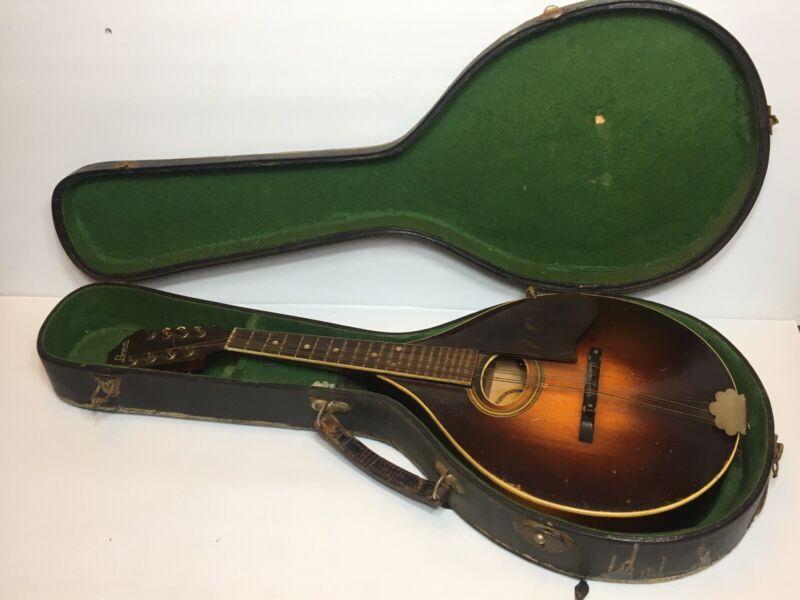 Vintage A.B. Herman Carlson Levin Garanti Mandolin In Original Case