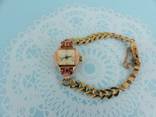 14ct Gold Ruby Wrist Watch with 9ct gold Strap Ladies Vintage