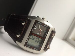 Duel screen watch leather strap