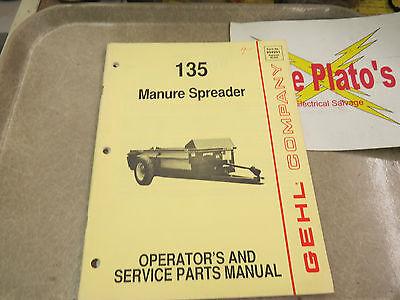 Gehl 135 Manure Spreader Operators Service Parts Manual