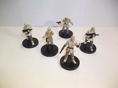 Star Wars Miniatures - Rebel Hoth Lot - 5 Figures + Cards