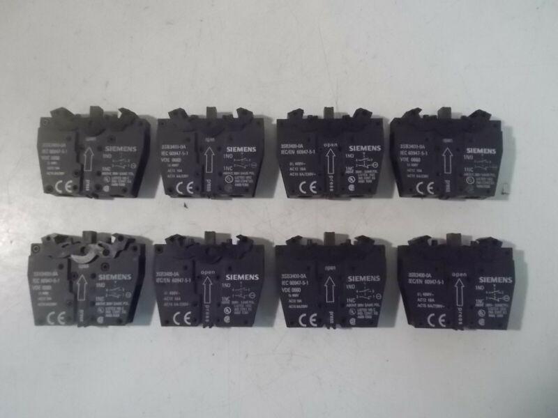 (8) New Siemens 3SB3400-0A Contact Blocks