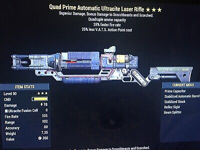fallout 76 xbox one Quad 25/25 Laser Rifle