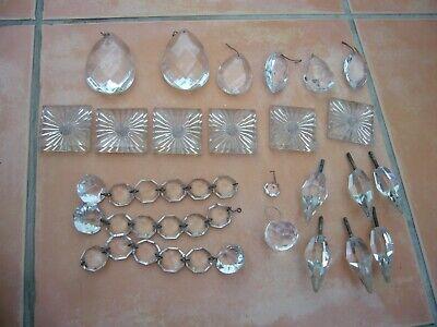 Antique vintage chandelier droplets odd collection some damage