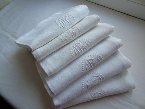 French set of 6 white cotton table linens napkins  monogram  vintage