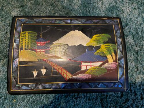 Vintage Japanese Black Lacquered Music Jewelry Box READ description