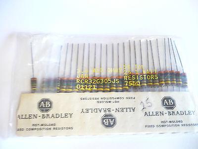Allen Bradley Pk 25 Rcr32g305js 3.0 Meg Ohm 1 W 5 Military Resistors-40-r