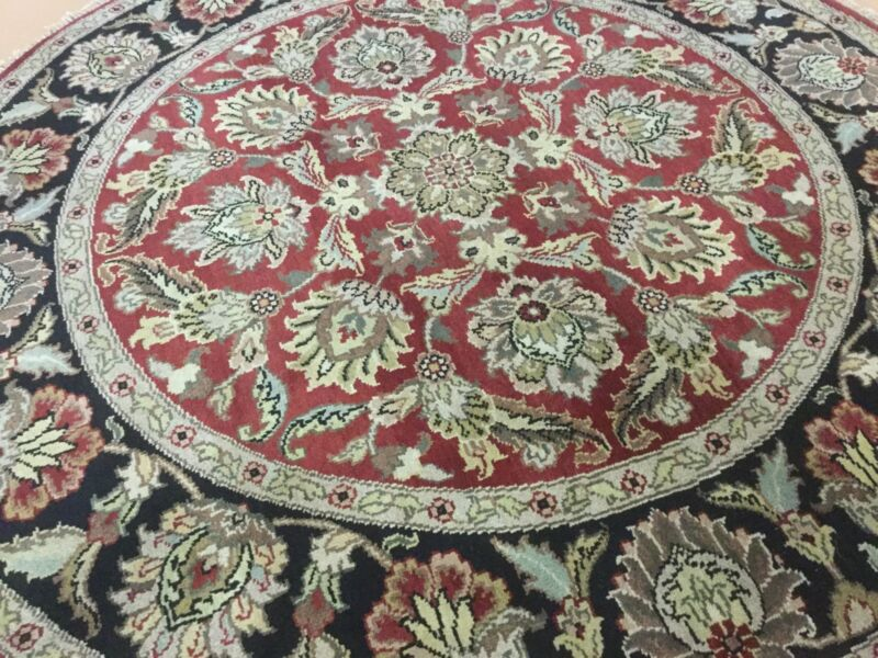 6 X 6 Round Red Black Agra Persian Oriental Area Rug Hand Knotted Floral Foyer