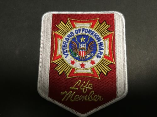 US VETERANS OF FOREIGN WARS LIFE MEMBER PATCH MEASURES 4 1/2 X 3 5/8 INCHES