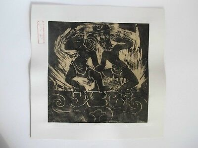 CHAMPA Kunst Holzblock Druck m. Original Signatur des Künstlers DINH LUC Vietnam