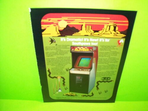 SLITHER Video Arcade Game Magazine AD Artwork Ready To Frame GDI 1982