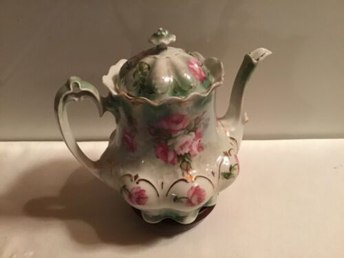 Antique  MZ AUSTRIA Scalloped Footed TEAPOT Gold Pink Roses Green Lustreware