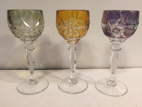 Colored Bohemian Crystal Cordial Stemmed Shot Glasses - 3 - MINT