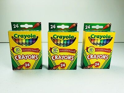 3 Pack Crayola Crayons Classic 24 Colors Pack Non Toxic USA Made *3 BOXES*  NEW - Non Toxic Crayons