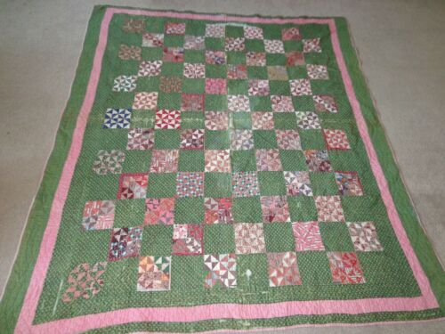 EARLY Pink & Green Calico Antique Vintage Handmade Quilt 77 x 68 CUTTER