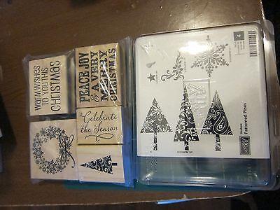 Stampin Up Patterned Pines Unmounted Stamp Set & 5 Hampton Art Stamps Christmas