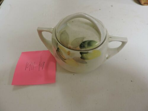 Vintage Nippon ? Sugar Bowl with Lid Yellow Green Flower Leaves Design