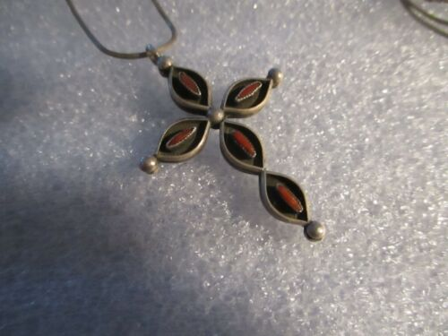 NATIVE AMERICAN STERLING SILVER TURQUOISE REVERSIBLE & CORAL CROSS
