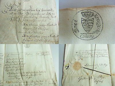 Handschrift PÖSSNECK 1819: ERB-Sonderung Fleischer J.G. NEUBERT // 18 S.; SIEGEL
